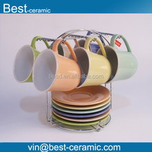 Free Shipping colorful tea ceramic coffee cup and saucer with steel stand wholesale