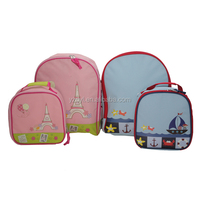 600D polyester material child lunch bag and school bag set