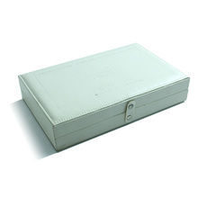 Fancy debossed logo mirrored light green leather essential oil packaging box with flip lid