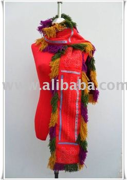 Colorfull Scarf Embroidered Hmong Fabric