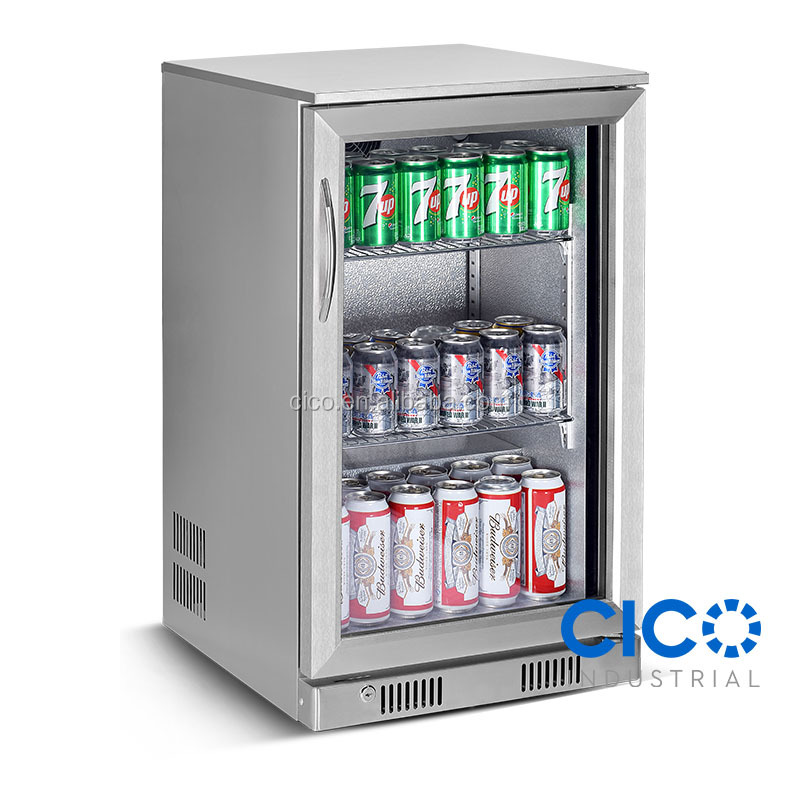Cico Single Glass Door Fridge Beer Bottle Cooler With Stainless Steel Self Closing Mini Over Counter