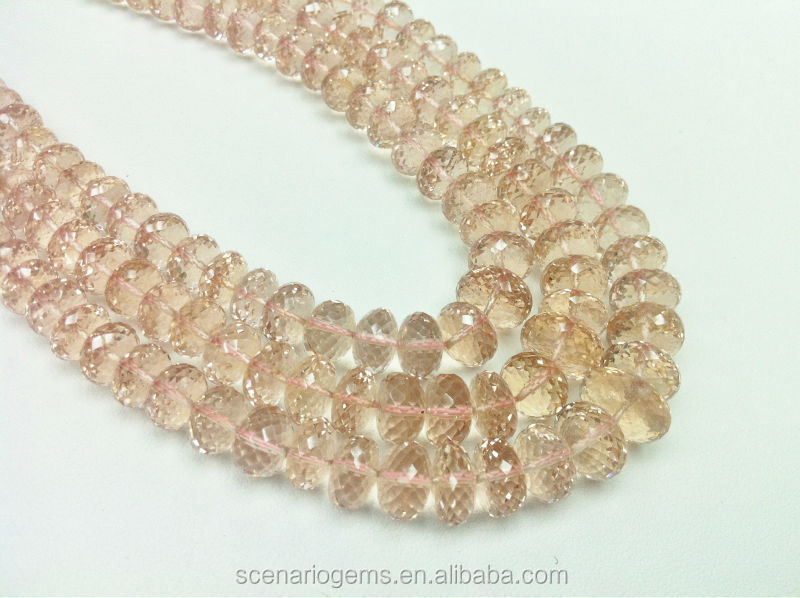 #HZZ636 Natural Faceted Roundel Semi-Precious Loose Gemstone Necklace Morganite beads