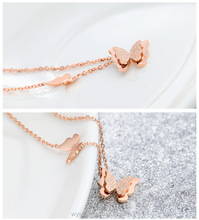 2016 stainless steel jewelry rose gold necklace for girls shiny matte double butterfly necklaces