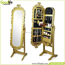 Wooden carved standing mirror jewelry armoire from Goodlife