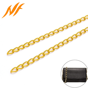 Wholesale gold plated hip hop handbag aluminum chain for bag and purse