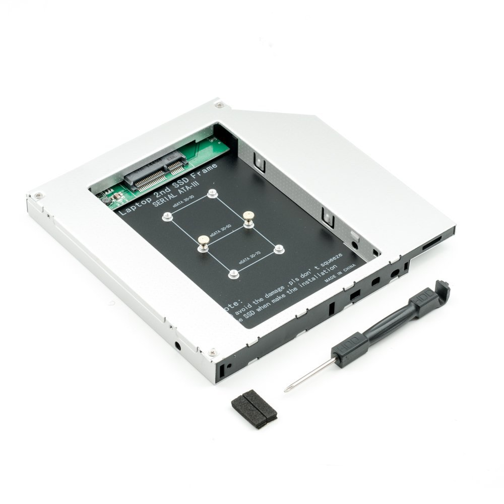 High quality SATA3 2nd SSD Caddy mSATA to SATA for 12.7mm Universal SSD Caddy