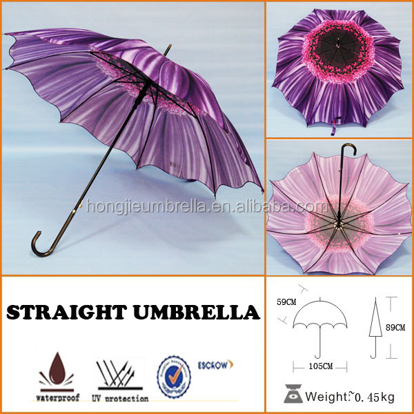 Beautiful Embroidered Garden Umbrella Parasols straight traditional umbrella Flower printing