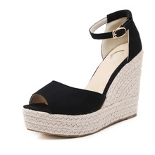 classic black ankle strap hemp heel high wedges plaform sandals women
