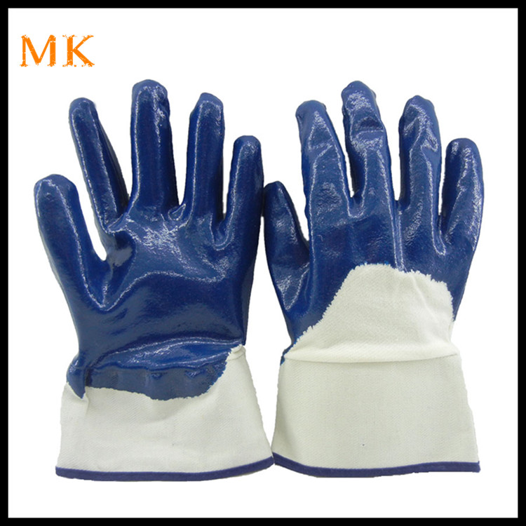 3/4 High quality blue nitrile coated working gloves