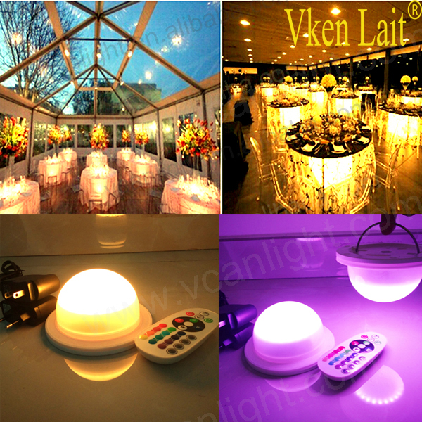 DHL Free Shipping Remote Controller RGB Colors Changing Under Table Light for Wedding Centerpieces Decoration