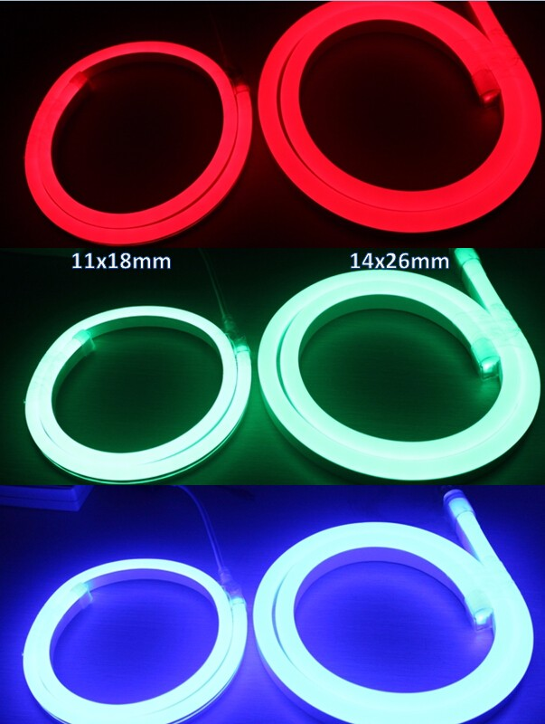 High brightness 14x26mm SMD 5050 RGB led ultra thin neon flex rope light with DMX controller