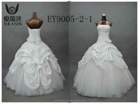 2015 Real Samples Strapless Ball Gown Lace And Ruffled Taffeta Wedding Dress Plus Size