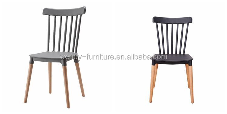 Poland design plastic chair with beech wood legs