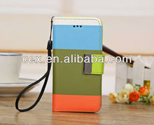 For iPhone 5C Candy Color Colorful Stand Wallet Leather Case With Hand Strap