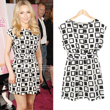 High Quality 2014 New Women Preppy Style summer Elastic Geometric Print Casual Chiffon Tunic Dress plus size SV000471