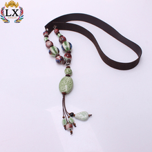 NLX-01089 Chinese style wood beads leather cord women couple pendant ceramics necklace