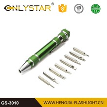 8 in 1 aluminum alloy screwdriver pen precision screw driver set portable all metal material multi-tool black pen screwdriver