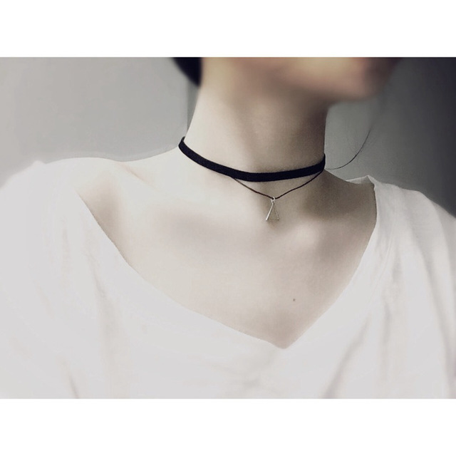 Summer Neck Jewelry Women's Rope Choker Necklace Fashion Layers Clavicle Necklaces Hollow Triangle Pendant Necklace for Women