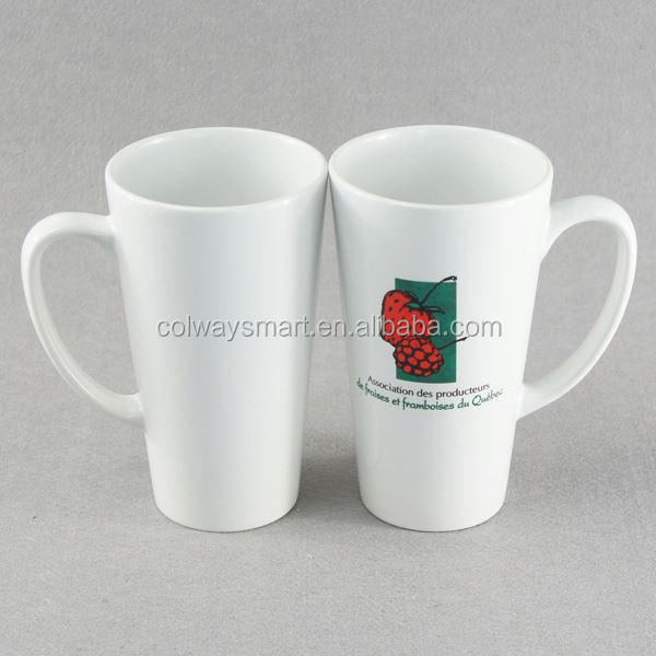 Novelty 17oz White Coffee Sublimation Custom Logo Print V Shaped Latte Mug Ceramic