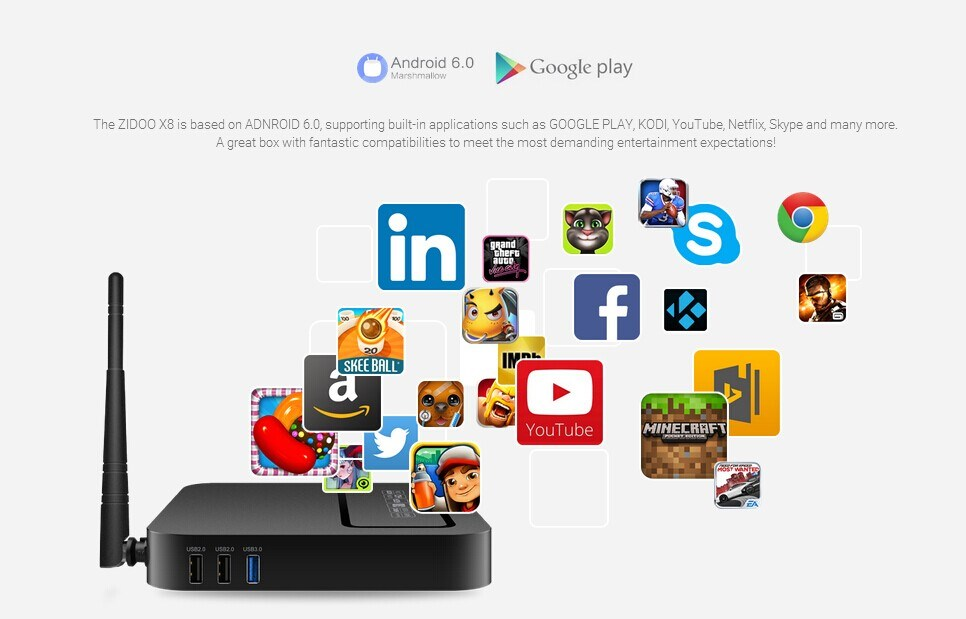 ZIDOO X8 TV Box Support USB 3.0 Gigabit Ethernet DVR Dual Band Wifi Bluetooth 4.0 OpenWrt Android 6.0 TV Box ZIDOO X8