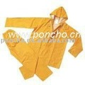 yellow pvc/polyester rainsuitl raincoat