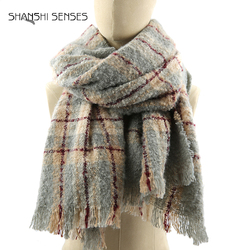 Ladies soft warm multi scarf plaid shawl scarves
