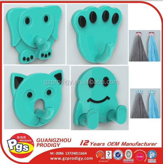 New design multi shape coat hook adhesive plastic wall hook