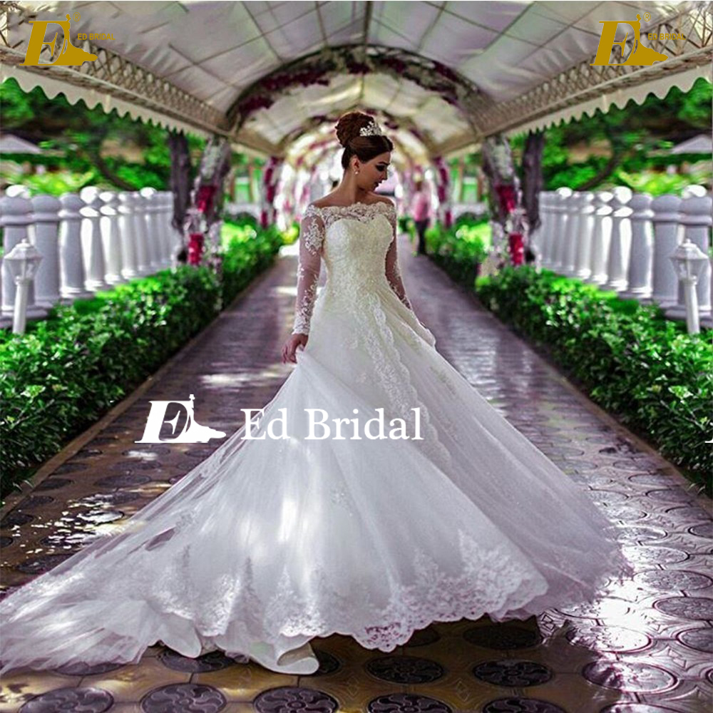 Latest Muslim Bridal Dress Off Shoulder Heavy Lace Appliques Long Sleeve Wedding Gown For Big Size