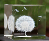 Beautiful flower cube 3d laser Crystal