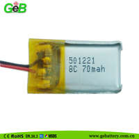 environmental friendly chemistry GEB501221 70mAH lithium battery