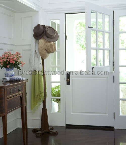 White Interior Half Door Design with Tempered Glass
