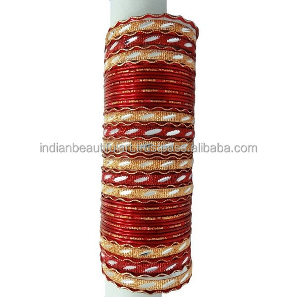 Traditional Bollywood Wear Red Bangle/Kangan Set Indian Bridal Churi Jewelry