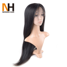 High Quality Soft Glueless Silk Top Peruvian Full Lace Wig Unprocessed Long Black Human Hair Wig From One Donor