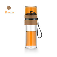 Samadoyo Portable Multifunctional Teacup Double Glass Body Stainless Steel filter NET Separated Cup Water Bottle