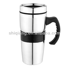 High quality bpa free 16oz double wall plastic inner office coffee mugs with handle rubber and lid
