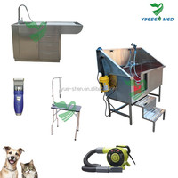 customizable pedal equipped stainless steel dog bath table