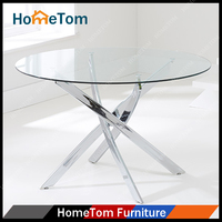 Home Dining FurnitureTempered Glass Top Metal Dining Round Table