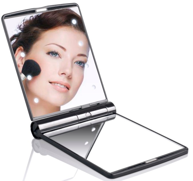 Lady Makeup Hollywood Cosmetic 8 <strong>LED</strong> Mirror Folding Portable Compact Vanity Pocket Mirror Lights Lamps