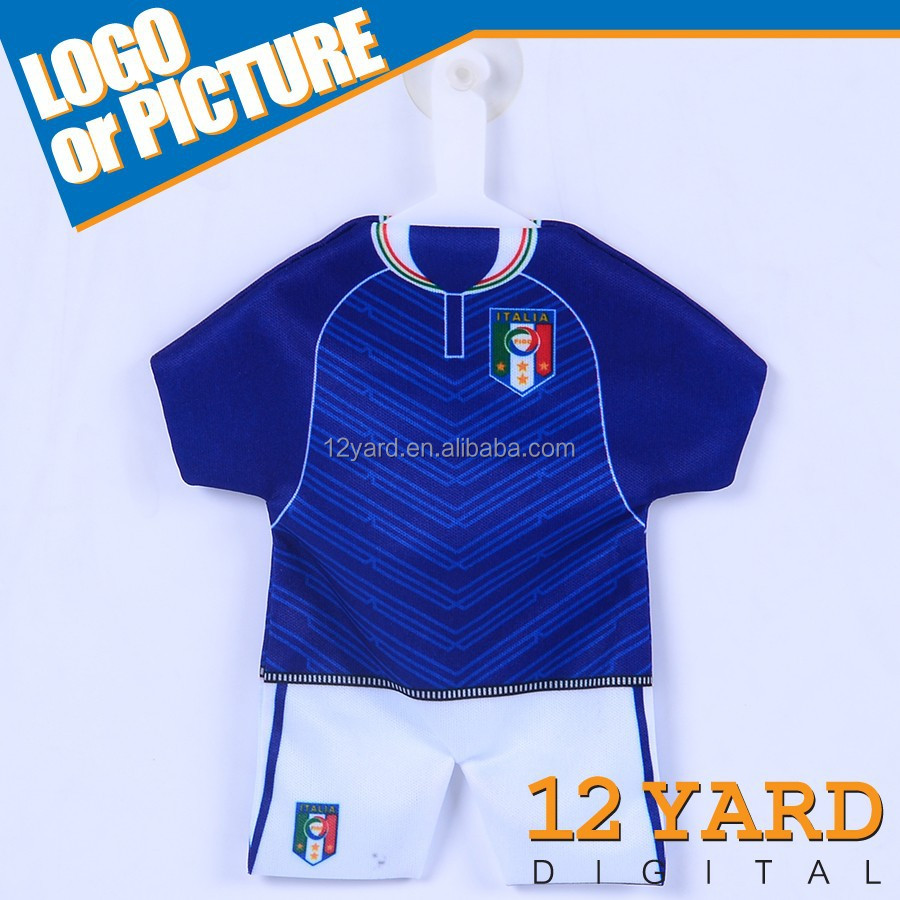 Best-selling custom new design T-shirt jersey, mini soccer jersey car hanging latest pendant designs Jersey