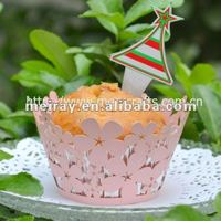 "laser cut ""peach blossom"" decorative cupcake wrappers in pearlized pink color from Mery Crafts"
