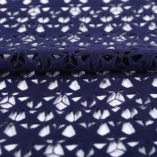 dark blue five-pointed star crochet lace cutwork embroidery 100% cotton fabric