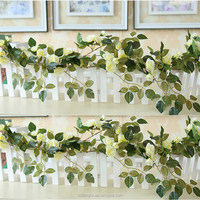 High Quality Vein Leaves Wholesale Artificial Rose Flower Vine For Coffee Shop Decor