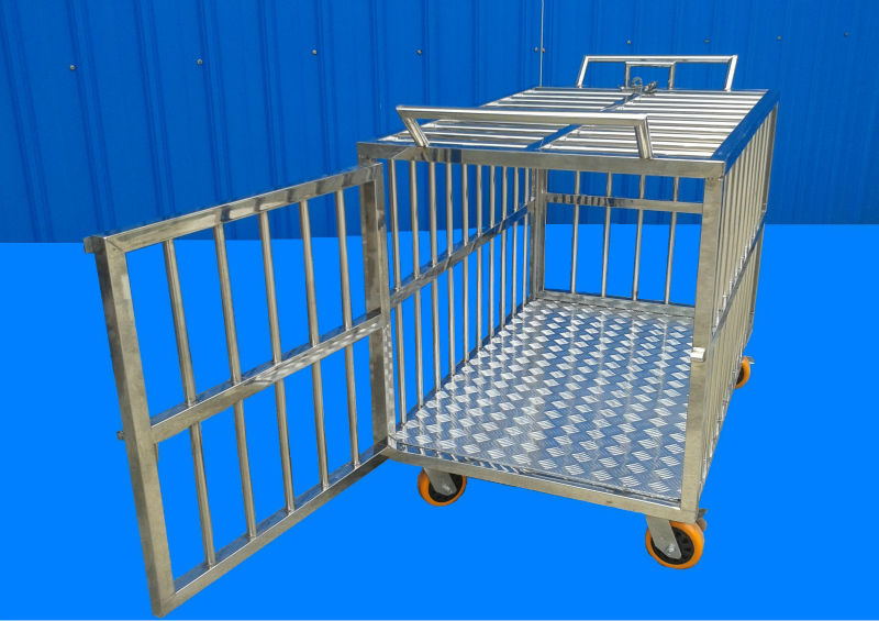 Stainless Steel Cage Dog/pets with Rear door,Holder & Wheel