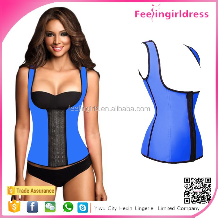 Wholesale Cheap Blue Steel Boned Latex Vest Waist Trainer Vest Corset