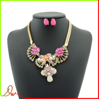 best factory price initial costume pink acrylic bead wholesale aliexpress jewelry necklace set