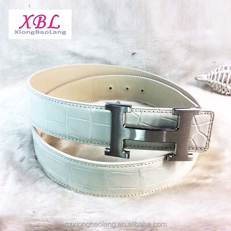XBL branded design women belt 100% Real crocodile leather belts white suppliers guangzhou