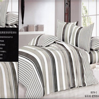 simple white and black stripes style adult big size 75gsm 100% polyester microfiber bedsheet sets