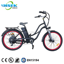 Chinese Custom Cruiser Bicycles Lowrider Ebike 26'' Beach Cruiser Electric Bike