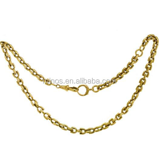 Antique Victorian Yellow Gold Pocket Watch Chain Necklace
