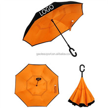 Double Layer Inverted Umbrellas Reverse Folding Windproof UV Protection for Car Rain Outdoor With C-shape Handle